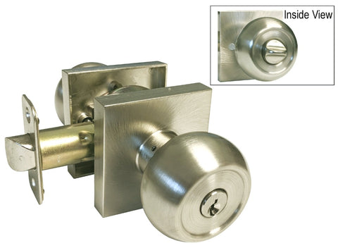 Satin Nickel Entry Handle Round Knob Square Plate - Style 5765-6085-DC
