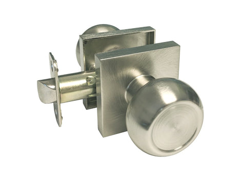 Satin Nickel Passage Handle Round Knob Square Plate - Style 5765-6085-DC