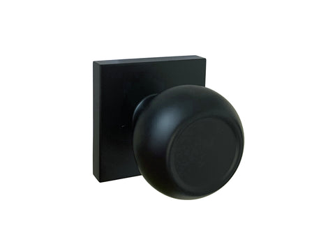 Black Finish Dummy Handle Round Knob Square Plate - Style 5765-6085-NBL