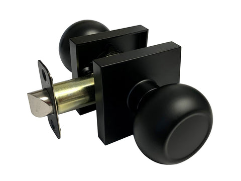 Black Finish Passage Handle Round Knob Square Plate - Style 5765-6085-NBL