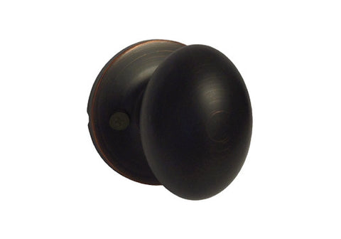 Dark Oil Rubbed Bronze Dummy Handle Oval Egg Shaped Knob - Style 6093DBR