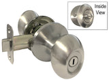 Satin Nickel Privacy Handle Oval Egg Shaped Knob - Style 6093DC