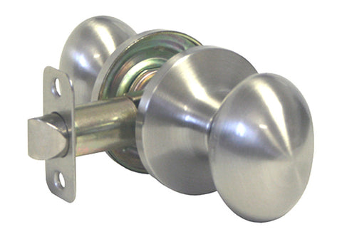 Satin Nickel Passage Handle Oval Egg Shaped Knob - Style 6093DC