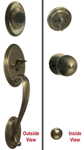 Antique Brass Front Door Handle Set Dummy - Style 5765AB
