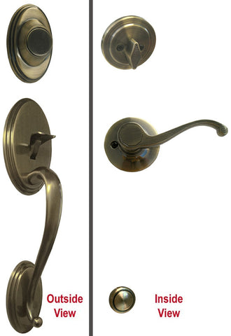 Antique Brass Front Door Entry Handle Set Dummy - Style 835AB