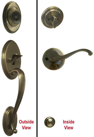 Antique Brass Front Door Entry Handle Set - Style 835AB