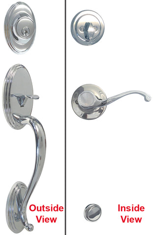 Polished Chrome Front Door Entry Handle Set - Style 835CR