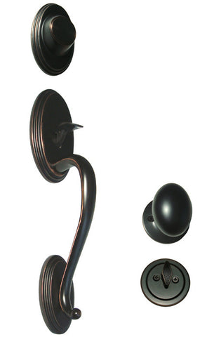 Dark Oil Rubbed Bronze Front Door Handle Set Dummy For Thick Door - Style 6093DBR