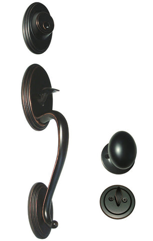 Dark Oil Rubbed Bronze Front Door Handle Set - Style 6093DBR