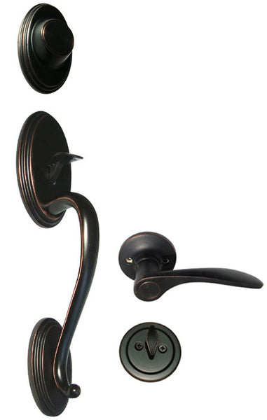 Dark Oil Rubbed Bronze Front Door Handle Set Dummy For
