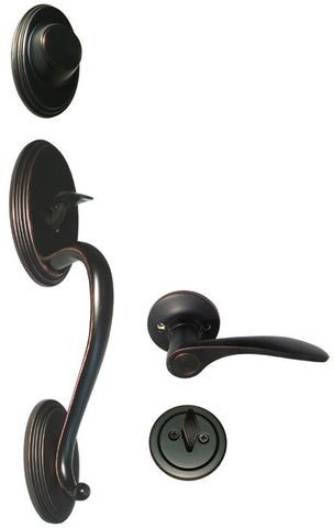 Dark Oil Rubbed Bronze Front Door Handle Set Dummy - Style 836DBR