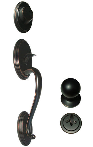 Dark Oil Rubbed Bronze Front Door Entry Handle Set Dummy For Thick Door - Style 5765DBR