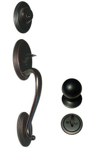 Dark Oil Rubbed Bronze Front Door Entry Handle Set For Thick Door - Style 5765DBR
