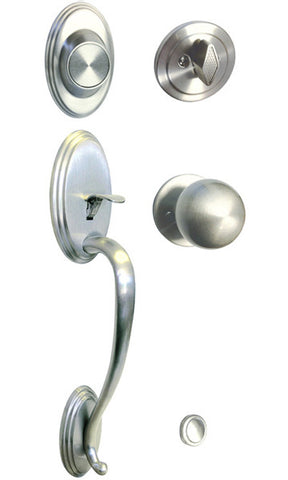 Satin Nickel Front Door Dummy Handle Set Round Knobs Square Plate - Style 5765-6085-DC