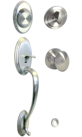 Satin Nickel Front Door Handle Set Dummy For Thick Door - Style 6093DC