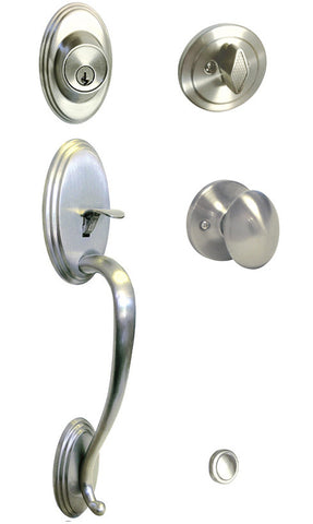 Satin Nickel Front Door Handle Set For Thick Door - Style 6093DC
