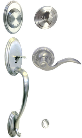 Satin Nickel Front Door Handle Set Dummy For Thick Door - Style 6300DC