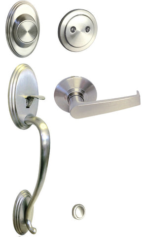 Satin Nickel Front Door Handle Set Dummy - Style 8101S01