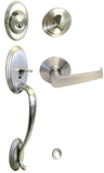 Satin Nickel Front Door Handle Set For Thick Door - Style 8101S01