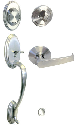 Satin Nickel Front Door Handle Set Dummy For Thick Door - Style 8101S01