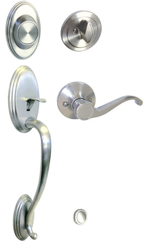 Satin Nickel Front Door Handle Set Dummy - Style 835DC