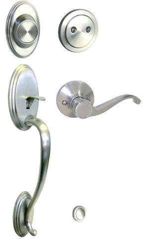 Satin Nickel Front Door Handle Set Dummy For Thick Door - Style 835DC