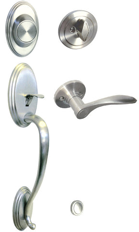 Satin Nickel Front Door Handle Set Dummy For Thick Door - Style 836DC
