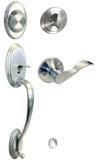 Satin Nickel Front Door Handle Set Dummy For Thick Door - Style 838DC