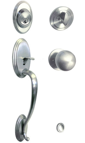 Satin Nickel Front Door Handle Set For Thick Door - Style 5765DC