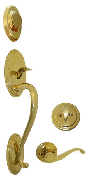 Polished Brass Front Door Handle Set Dummy Style 835pb