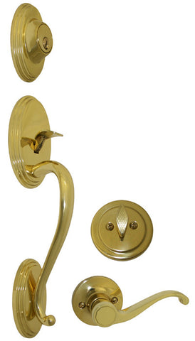 Polished Brass Front Door Entry Handle Set - Style 835PB