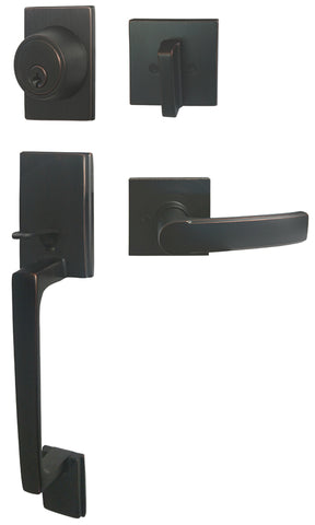 Dark Oil Rubbed Bronze Front Door Handle Set - Style 8048DBR