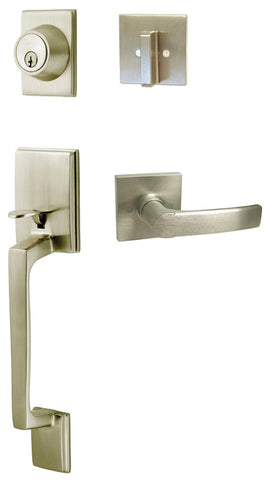 Satin Nickel Square Plate Privacy Handle Levers Style