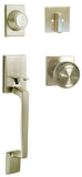 Satin Nickel Front Door Round Knobs Square Plate Dummy Handle Set - Style 5765-6085-DC