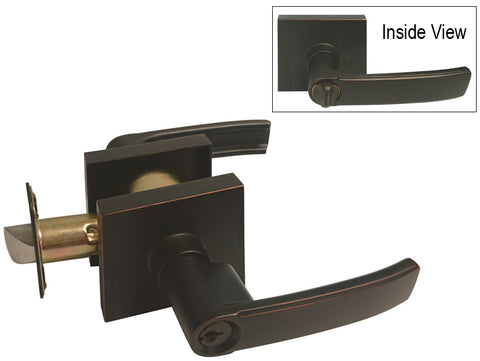 Dark Oil Rubbed Bronze Square Plate Entrance Handle Lever - Style 8048DBR