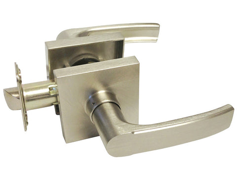 Satin Nickel Square Plate Passage Handle Lever - Style 8048DC