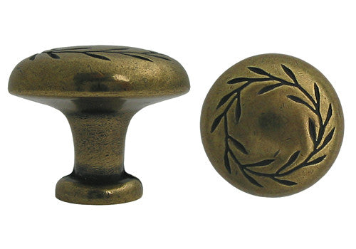 Antique Brass Cabinet Drawer 1 1 4 Quot Leaf Knob 7418 32mm