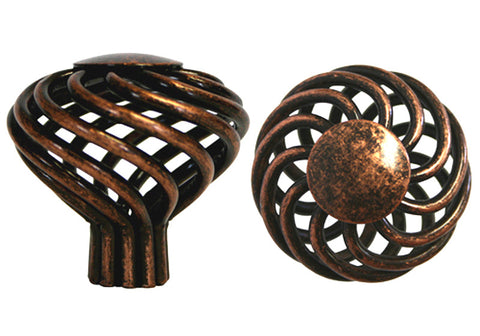 "Machined Antique Copper Cabinet Drawer 1-5/8"" Bird Cage Round Knob 1318 40MM"