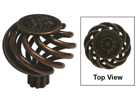 "Machined Antique Copper Cabinet Drawer 1-3/8"" Sunflower Bird Cage Round Knob 1341 35MM"