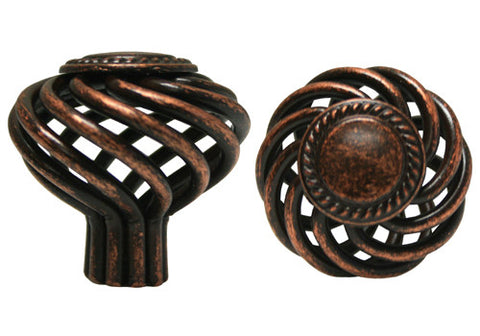 "Machined Antique Copper Cabinet Drawer 1-3/8"" Sunflower Bird Cage Round Knob 1342 35MM"