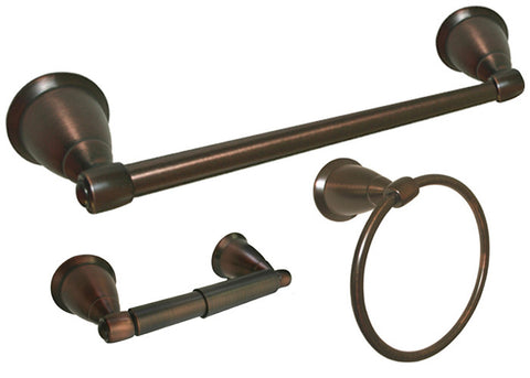 "Oil Rubbed Bronze 3 Piece Bathroom Accessories Set with 18"" Towel Bar - Series BA11-ORB"