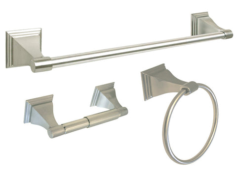 "Satin Nickel 3 Piece Bathroom Accessories Set with 18"" Towel Bar - Series BA12-BN"