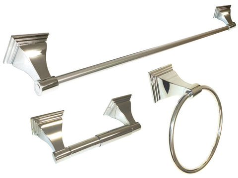 "Polished Chrome 3 Piece Bathroom Accessories Set with 24"" Towel Bar - Series BA12-CR"