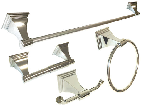 "Polished Chrome 4 Piece Bathroom Accessories Set with 24"" Towel Bar - Series BA12-CR"