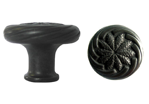 "Black Cabinet Drawer 1-1/8"" Wheat Round Knob 119 30MM"
