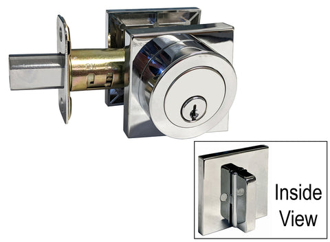 Polished Chrome Square Straight Corner Plate Single Cylinder Deadbolt - Style 8048-6085CR