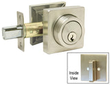 Satin Nickel Square Plate Single Cylinder Deadbolt D317Y