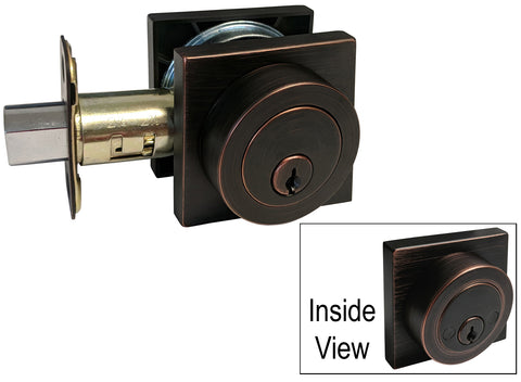 Dark Oil Rubbed Bronze Square Double Cylinder Deadbolt