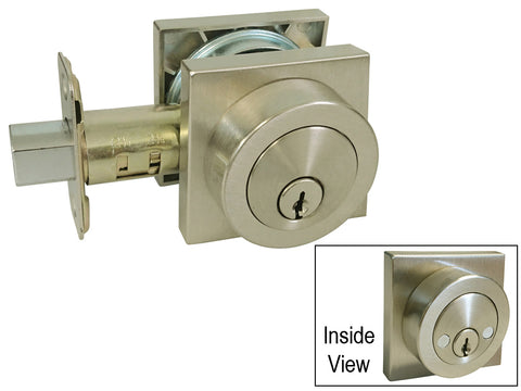 Satin Nickel Square Plate Double Cylinder Deadbolt D318Y