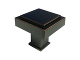 "Dark Oil Rubbed Bronze Cabinet Drawer 1-1/8"" Square Knob 1023 30MM"